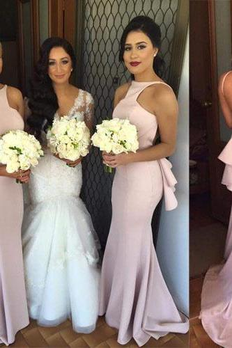 Custom Made Pink Backless Halter Neckline Mermaid Bridesmaid Dress with Back Gathers