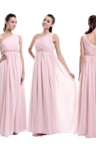 Pink Chiffon Ruched One-Shoulder Floor Length A-Line Bridesmaid Dress
