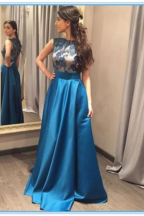 Blue Sleeveless Lace Applique A Line Satin Long Guest Wedding Dress