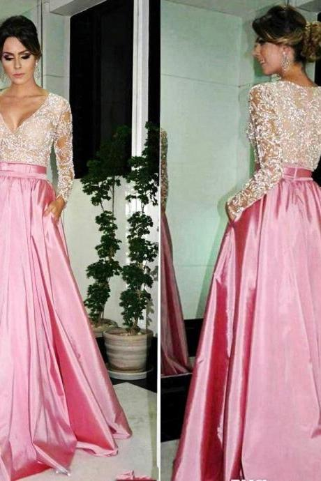 Formal Dress, Elegant A-line V-neck Formal Dresses,Long Sleeve Formal Dress,Pink Satin Beaded Lace Long Evening Prom Dresses Dubai Kaftan Formal Gowns Long Satin Prom Dress Party Cocktail Dresses
