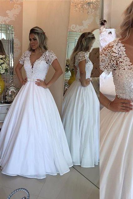 Wedding Dress Modest white Wedding Dresses,Sexy New Prom Dress,Lace Short Sleeves Wedding Dresses, V-Neck White Crystal Bowknot Prom bridal Dress,Formal Dress