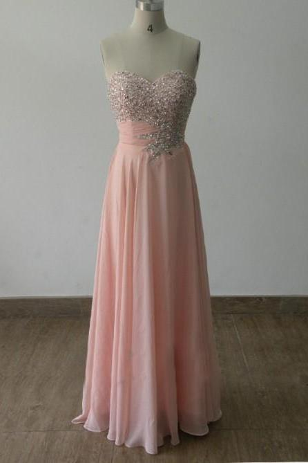 Prom Dress,Custom-Made Sparkle Beadings Light Pink Sweetheart Prom Dress , Handmade Prom Gown, Evening Party Dresses, Gorgeous Prom Gown, Formal Dresses, Graduation Dresses, Party Dress,Wedding Guest Prom Gowns, Formal Occasion Dresses,Formal Dress