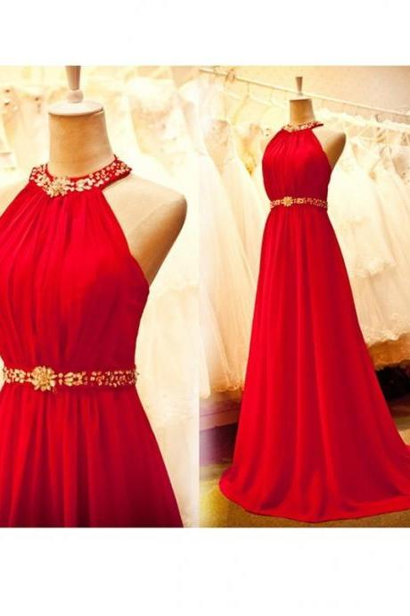 Beautiful Halter Red Long Chiffon Prom Dress with Beadings, Prom Dresses , Red Prom Gowns, Formal Dresses,Wedding Guest Prom Gowns, Formal Occasion Dresses,Formal Dress