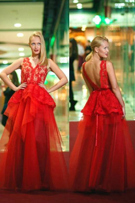 Sexy A-Line Lace Evening Red Dress, V-Neck Evening red Dress Backless Evening Dress Elegant Long Prom Dress,Wedding Guest Prom Gowns, Formal Occasion Dresses,Formal Dress