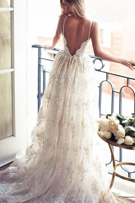 Wedding Dress,Spaghetti Straps Low Back Summer Wedding Dresses, Boho Bridal Gown with Appliques Lace,Wedding Guest Prom Gowns, Formal Occasion Dresses,Formal Dress