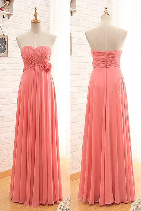 Coral Ruched Sweetheart Neckline Floor Length Chiffon Guest Wedding Dress, Bridesmaid Dress with Floral Embellishment