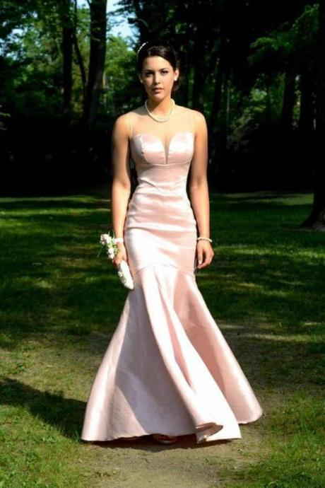 Pink Satin Sweetheart Neckline Satin Mermaid Floor Length Guest Wedding Dress