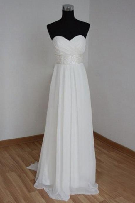 Chiffon Ruched Sweetheart Floor Length A-Line Wedding Dress Featuring Beaded Belt