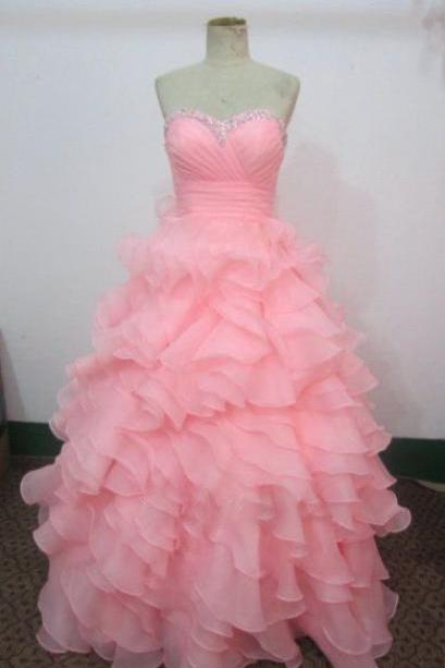 Prom Dress,High Quality Handmade Pink Ball Gown Prom Dresses, Pink Prom Dresses, Ball Gown Formal Dresses,Evening Dresses, Party Dresses,Chiffon Prom Dress,Wedding Guest Prom Gowns, Formal Occasion Dresses,Formal Dress