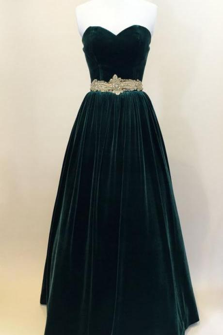 Custom Made Dark Green Velvet Sweetheart Neckline Long Evening Dress, Prom Dresses, Evening Party Dresses, Formal Gowns