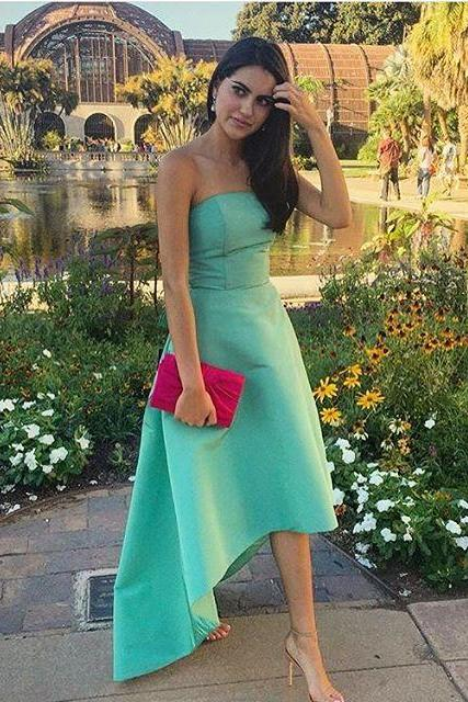 Green Strapless Satin Guest Wedding Dress with High Low Hem