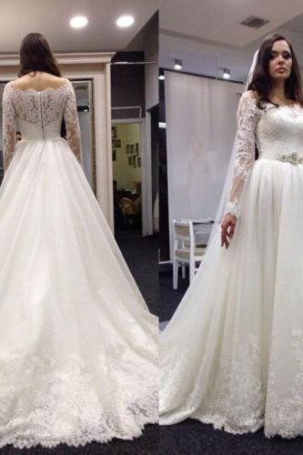 Lace Wedding Dress, with Long Sleeves, Wedding Gowns, Bridal Dresses, Bridal Gowns, Bride Dress, Dress for wedding, Cheap Wedding Dresses, Custom Wedding Dress Plus size,Wedding Guest Prom Gowns, Formal Occasion Dresses,Formal Dress