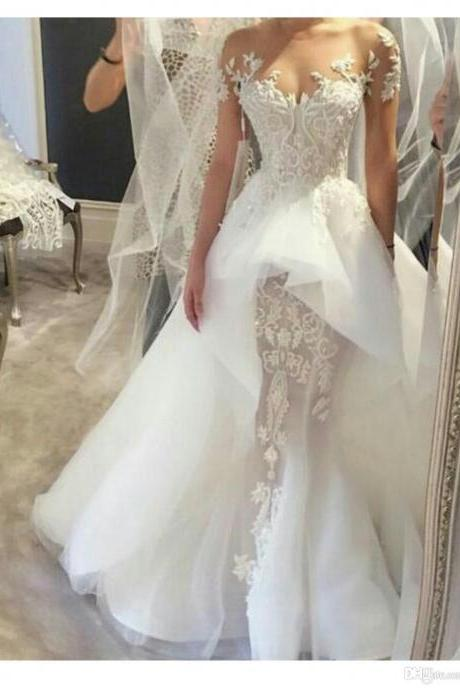 Wedding Dress, New Cheap Sexy Ball Gown Wedding Dresses with Detachable Off Shoulder Sleeves and Removable Ruffled Train Puffy Tulle Real Bridal Gowns,Graduation Dresses,Wedding Guest Prom Gowns, Formal Occasion Dresses,Formal Dress