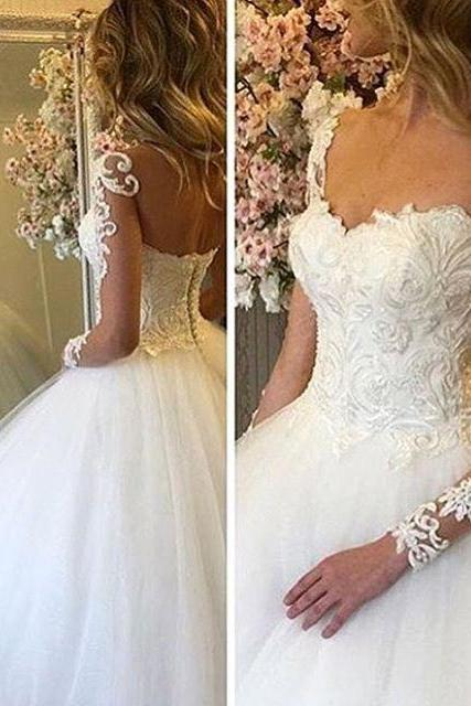 Wedding Dress,Ball Gown Tulle Sheer Long Sleeve Wedding Dresses Lace Beading Crystals Bridal Gowns,Graduation Dresses,Wedding Guest Prom Gowns, Formal Occasion Dresses,Formal Dress