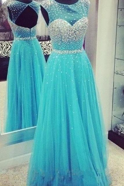Prom Dress, Luxury Beading Long bule Prom Dresses,Party Dress Formal Dress , Prom Dress ,tulle Prom Dresses,Evening Dress,Party DressHigh Quality Graduation Dresses,Wedding Guest Prom Gowns, Formal Occasion Dresses,Formal Dress