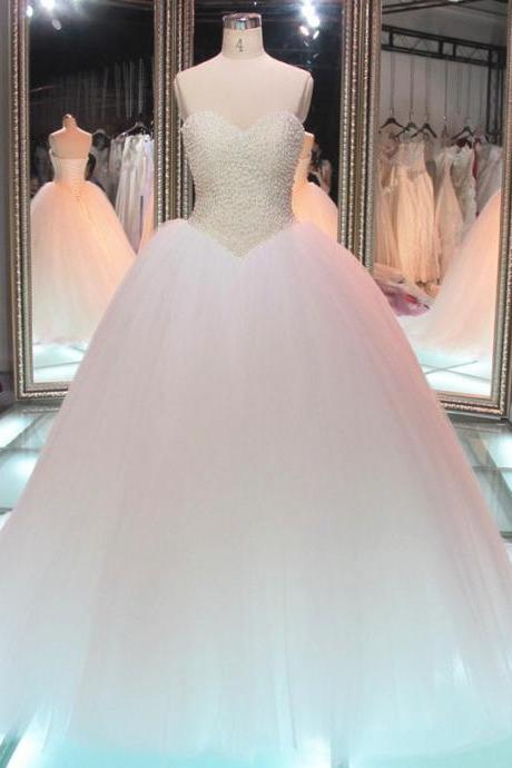 Strapless Sweetheart Beaded Princess Ball Gown, Wedding Gown