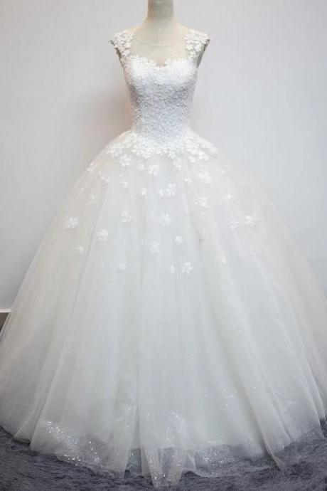 Wedding Dress,Sexy Elegant Wedding Dresses, vintage lace flower cap sleeves see through back ball gowns wedding dresses,High Quality Bridal Dresses,Wedding Guest Prom Gowns, Formal Occasion Dresses,Formal Dress