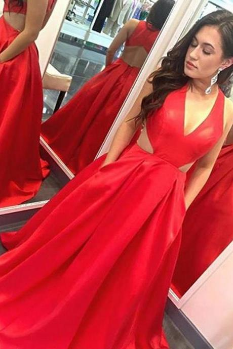 Red Prom Dress,Sexy Elegant Prom Dresses, Sexy Prom Dresses,Sleeveless Prom Dress,Long Evening Dress,Sexy Red Formal Dress