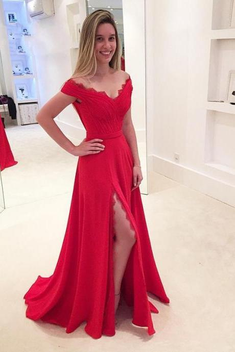 Prom Dress,Sexy Elegant Prom Dresses, New Red Prom Dress V Neck Side Split Elegant Long Prom Evening Dress Modest Women Prom Dress