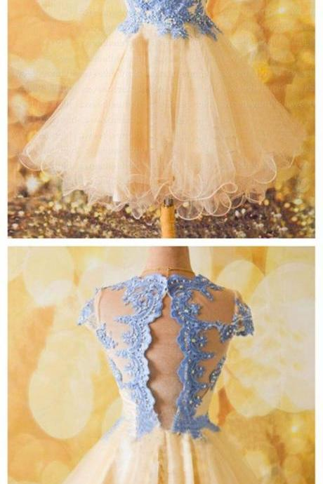 Homecoming Dress,Sexy Elegant Homecoming Dresses, New Arrival Cap Sleeve Homecoming Dress,Sexy Prom Gown,Beaded Prom Dresses,Tulle Party Dress ,High Quality Graduation Dresses,Wedding Guest Prom Gowns, Formal Occasion Dresses,Formal Dress