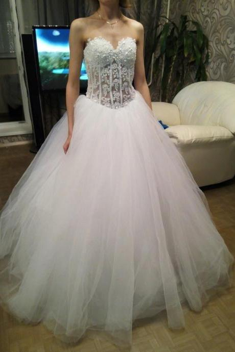 Wedding Dress,Sexy Long Appliques and Tulle Wedding Dresses,Ball Gown Bridal Gowns Weddings Dress,High Quality Bridal Dresses,Wedding Guest Prom Gowns, Formal Occasion Dresses,Formal Dress