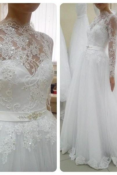 Wedding Dress,Sexy Long Sleeve Wedding Dress Ball Gown, High Neck Wedding Dresses ,Wedding Gowns,High Quality Bridal Dresses,Wedding Guest Prom Gowns, Formal Occasion Dresses,Formal Dress