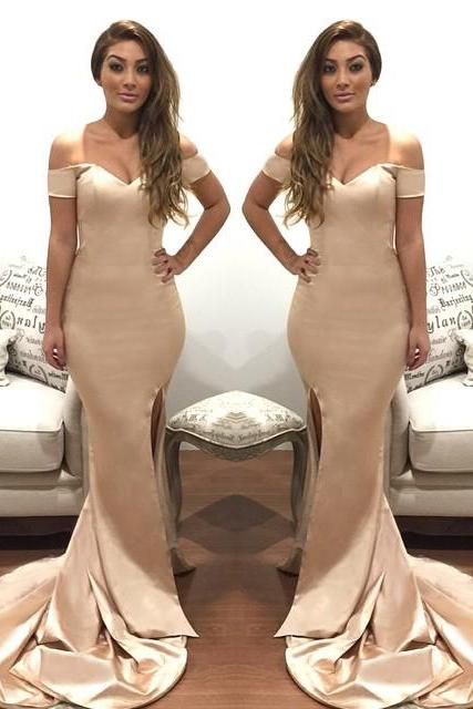 Long Prom Dress,Sexy Mermaid Prom Dress,Off Shoulder Evening Dress,Sexy Split Side Prom Dresses,High Quality Graduation Dresses,Wedding Guest Prom Gowns, Formal Occasion Dresses,Formal Dress