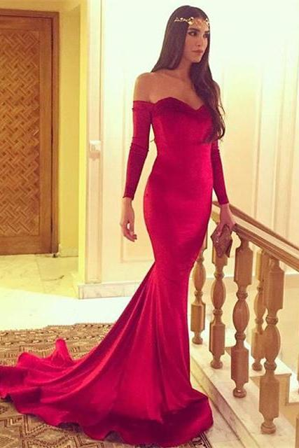 Prom Dress, Off Shoulder Red Satin Prom Dress,Floor Length Prom Dresses,High Quality Graduation Dresses,Wedding Guest Prom Gowns, Formal Occasion Dresses,Formal Dress