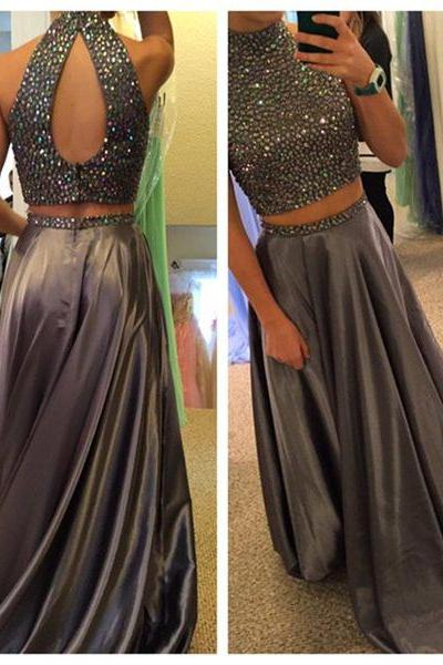 New Two Piece Prom Dress,High Neck Prom Dresses,Evening Dress,High Quality Graduation Dresses,Wedding Guest Prom Gowns, Formal Occasion Dresses,Formal Dress