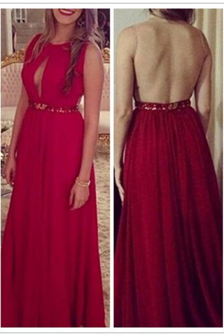Sexy A-Line Red Prom Dress,Backless Prom Dresses,Evening Dress,Ciffon Prom Dresses,High Quality Graduation Dresses,Wedding Guest Prom Gowns, Formal Occasion Dresses,Formal Dress
