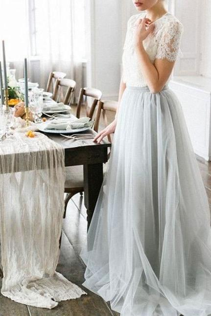 Custom Made White Lace Prom Dress,Gray Chiffon Party Dress,Short Sleeves Evening Dress,Chiffon Party Dress,High Quality Graduation Dresses,Wedding Guest Prom Gowns, Formal Occasion Dresses,Formal Dress