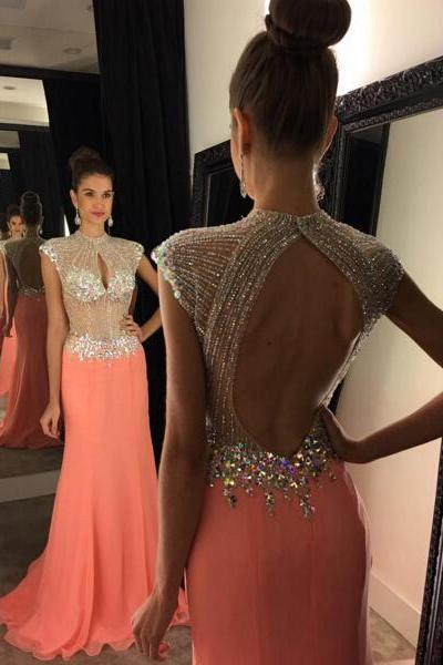 Prom Dress, Front Key Hole Open Back Cap Sleeves Beaded Long Peach Prom Dresses