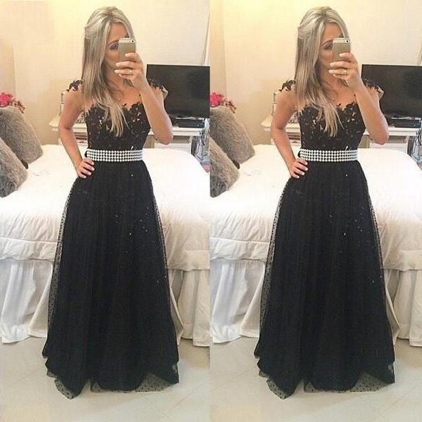 Sexy Prom Dress,Formal Evening Dress,Long Evening Dress,Black Tulle Prom Dress