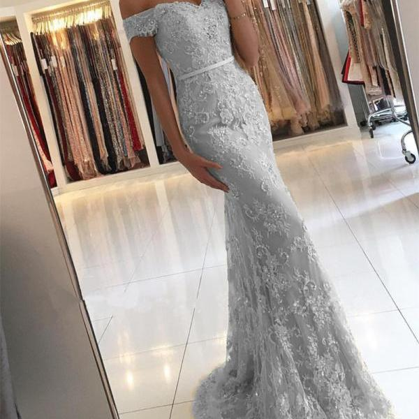 Silver Prom Dress,Lace Prom Dresses,Mermaid Evening Dresses Off Shoulder,Elegant Formal Gowns