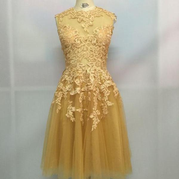 Handmade Sparke A-Line Short yellow lace Homecoming Dresses,With Sequins, Short tulle Homecoming Dresses, Homecoming Dresses, Graduation Dresses,girls party dress, sexy prom Dresses,homecoming dress , 2016 cheap short sexy prom dress .