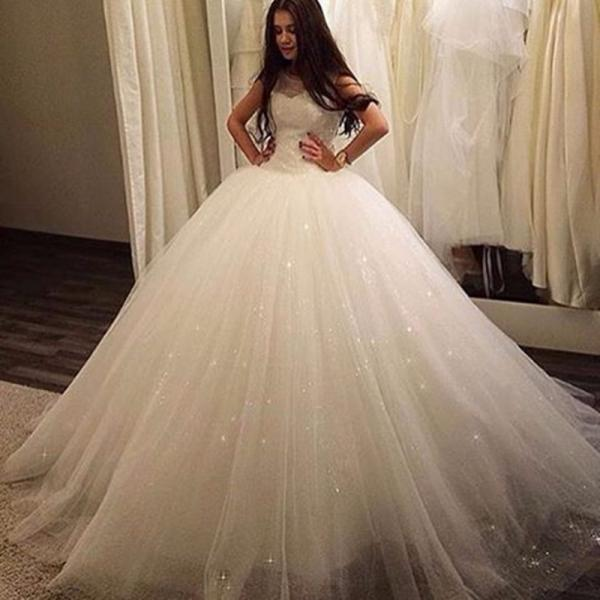 Ball Gown sleeveless Wedding Dresses for 2016 Sexy Sheer Neck Backless Tulle Ball Gown Bridal Wedding Dresses vestido de noiva,a-line tulle wedding dresses,custom wedding dresses