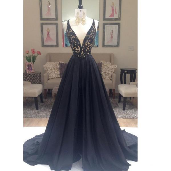 prom dresses, Black Prom Dress Evening Party Gown Deep V Neckline
