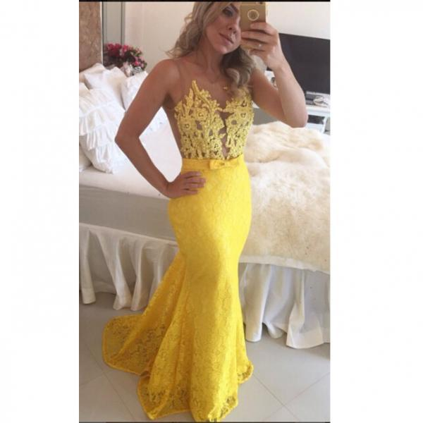 Prom Dress, Charming Sexy Prom Dress, Yellow Lace Prom Dresses Evening Party Dresses , Backless Prom Dresses, Custom Dress,custom made Graduation dresses, vogue formal dresses