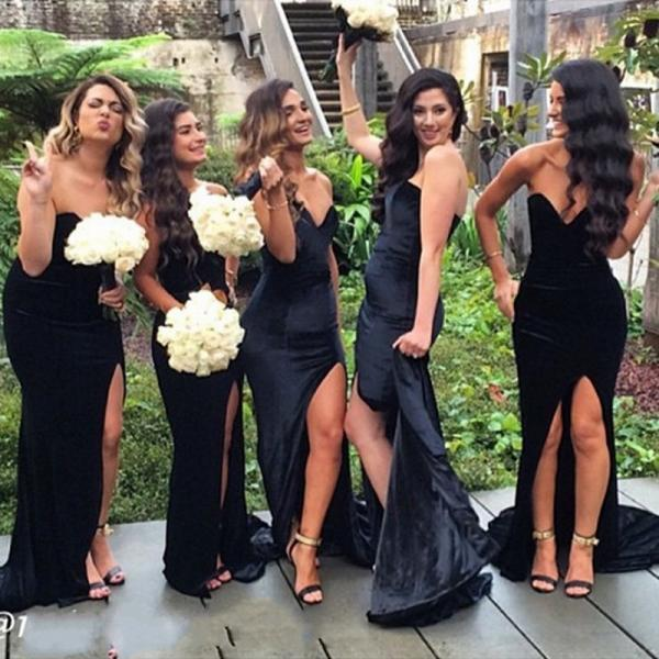 Bridesmaid Dresses Cheap New Sexy Mermaid Black Sweetheart Side Slit Satin Long Bridesmaid Dress Gown Brautjungfer Kleider