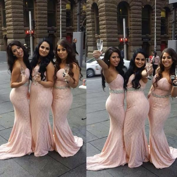 Bridesmaid Dresses Cheap New Sexy Mermaid Pink Sweetheart Lace Beads Long Bridesmaid Dress Gown Brautjungfer Kleider