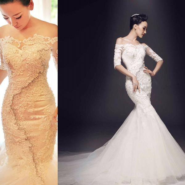 Wedding Dress,Luxury Wedding Dress,Mermaid Wedding Dress,Pearl Wedding Dress,Beaded Wedding Dress,Three Quater Sleeve Wedding Dress,Modest Wedding Dress,Sexy Wedding Dress,Lace Wedding Dress,Vintage Wedding Dress,Wedding Guest Prom Gowns, Formal Occasion Dresses,Formal Dress