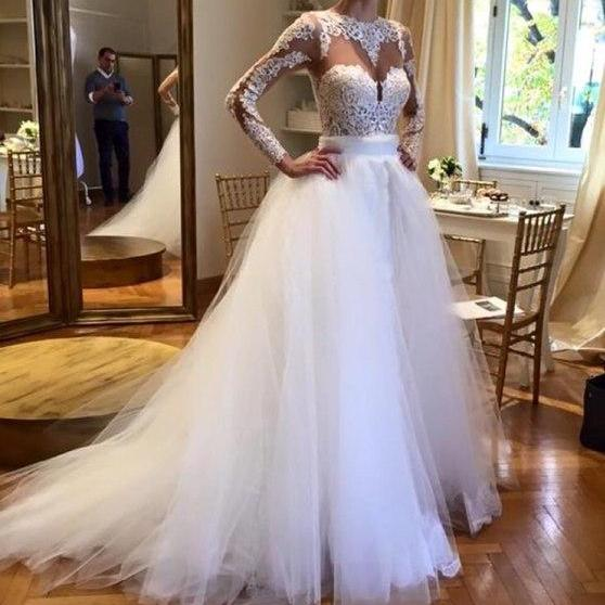 Wedding Dress,Tulle Wedding Dresses Crew Neck Sheer Long Sleeve Lace Accents Bridal Gowns Wedding Gowns,Graduation Dresses,Wedding Guest Prom Gowns, Formal Occasion Dresses,Formal Dress