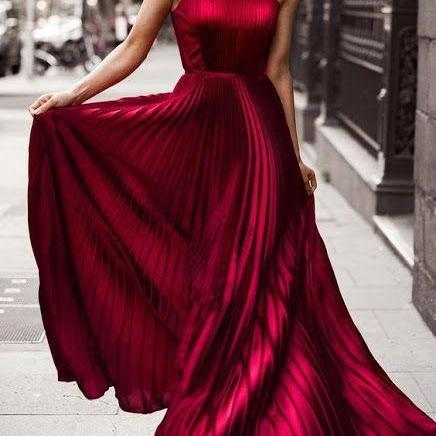 Burgundy Evening Dress, Woman Long Formal Dress, Sexy Halter Chiffon Prom Dress