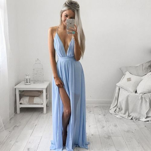 Simple prom dress,stylish blue long prom dresses,graduation dresses,cheap prom dresses