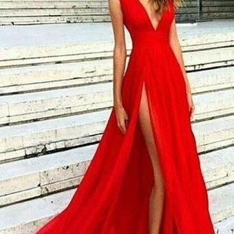 Sexy Slit Prom Dress,V-neckline Red Evening Gowns,Split Prom Dresses,Slit Sexy Party Dresses.Red Formal Dress