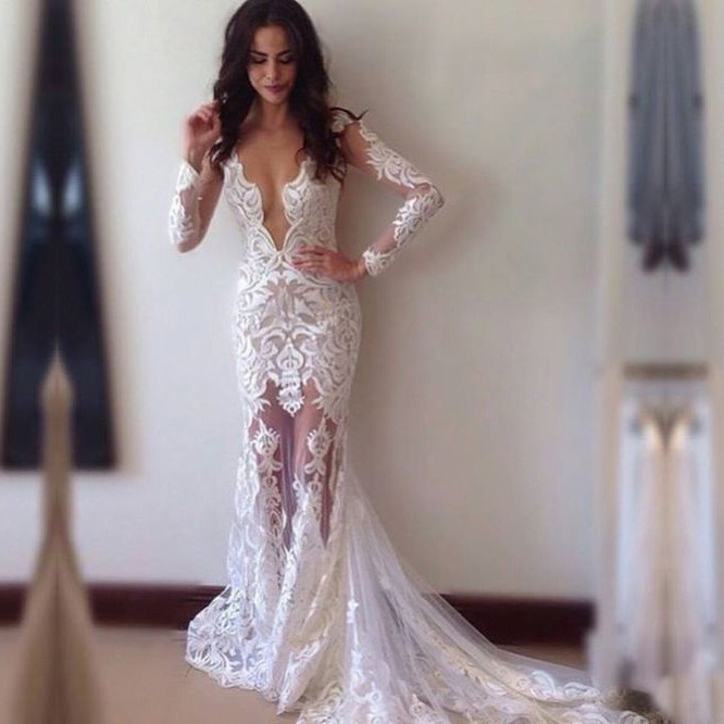 New mermaid wedding dress sexy sheath lace wedding dresses for Sexy lace wedding dresses